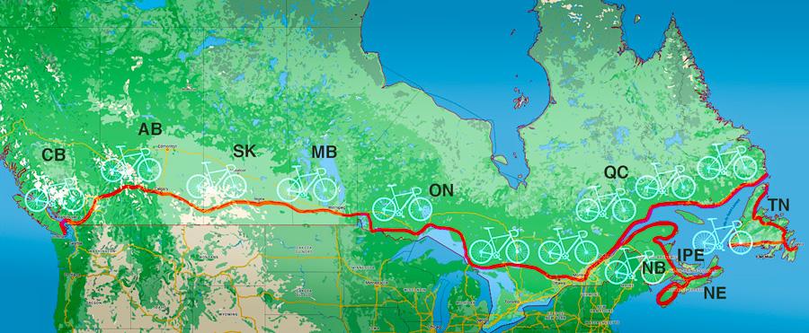 Itinéraire de la traversée en vélo