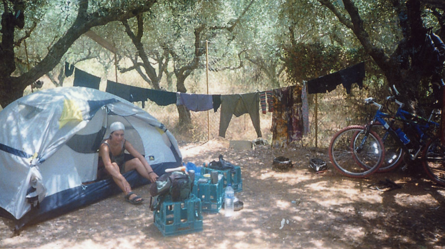 Cyclo-tourists camp in Crete